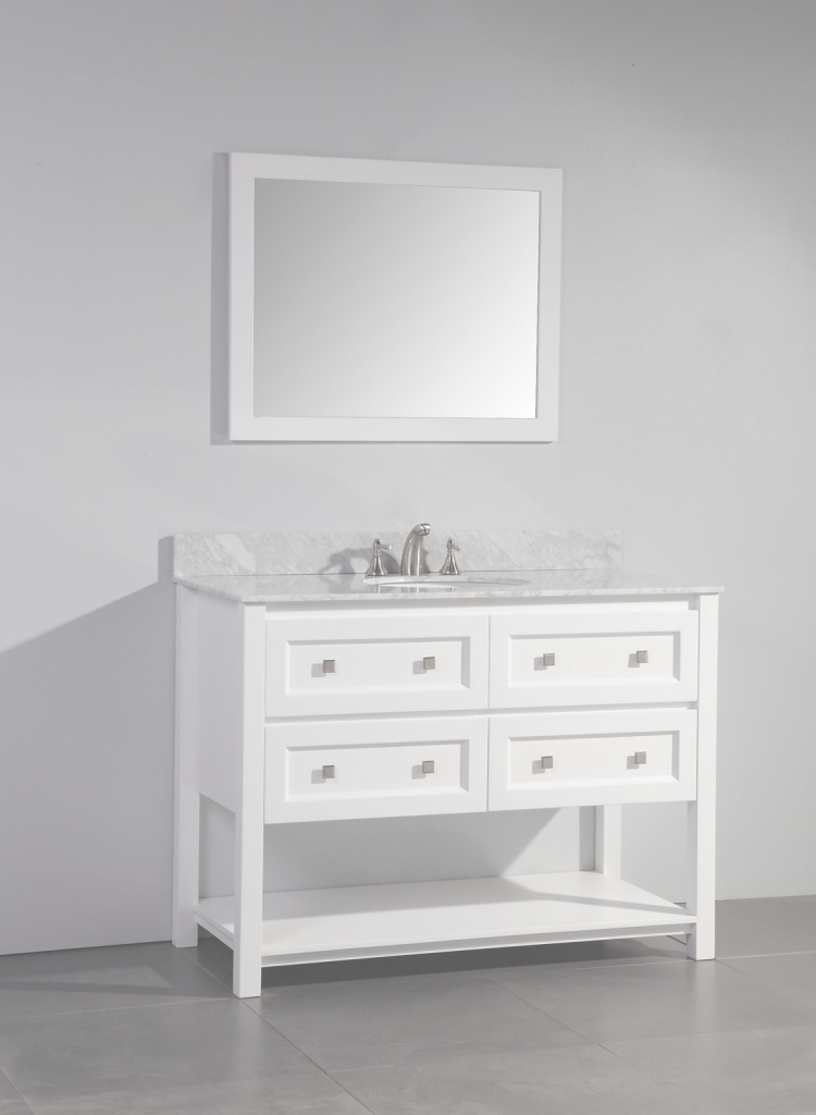 Lovely Legion 48 Inch Contemporary Single Sink Bathroom Vanity Set White Finish pertaining to 48 Inch Bathroom Vanity With Top