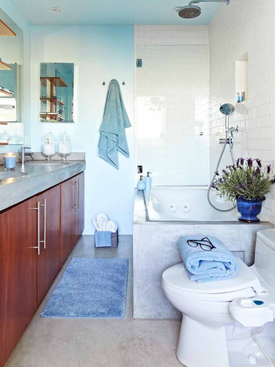 Lovely Light Blue Bathroom Decorating Ideas Laminate In Black Tile Floor intended for Oval Room Blue Bathroom