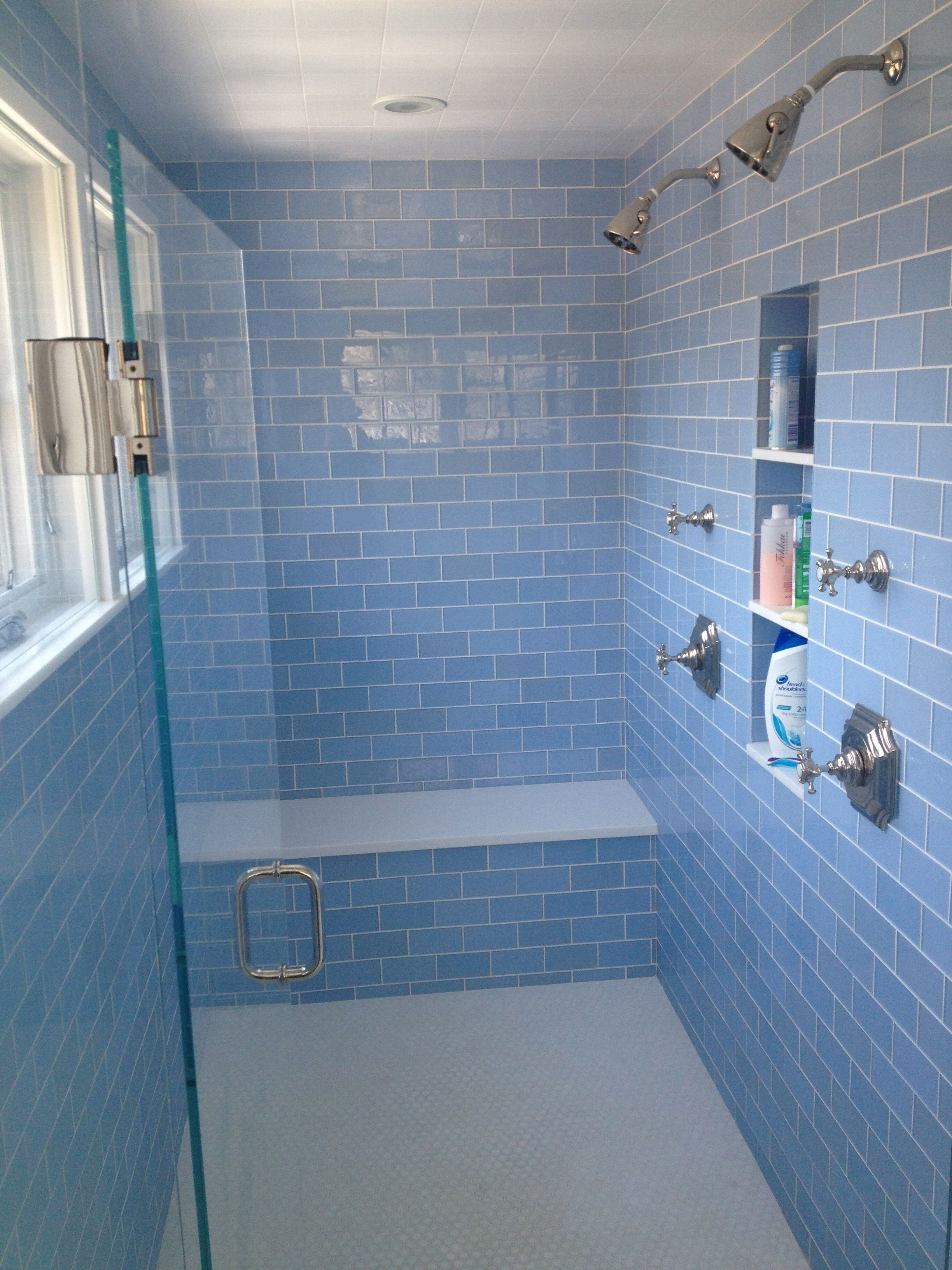 Lovely Master Bathroom- Waterworks Fixtures With Blue Glass Tile for Blue Glass Tile Bathroom