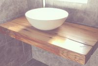 Lovely Our Floating Bathroom Shelf With Vessel Bowl Sink. Handcrafted Wood pertaining to Floating Bathroom Sink