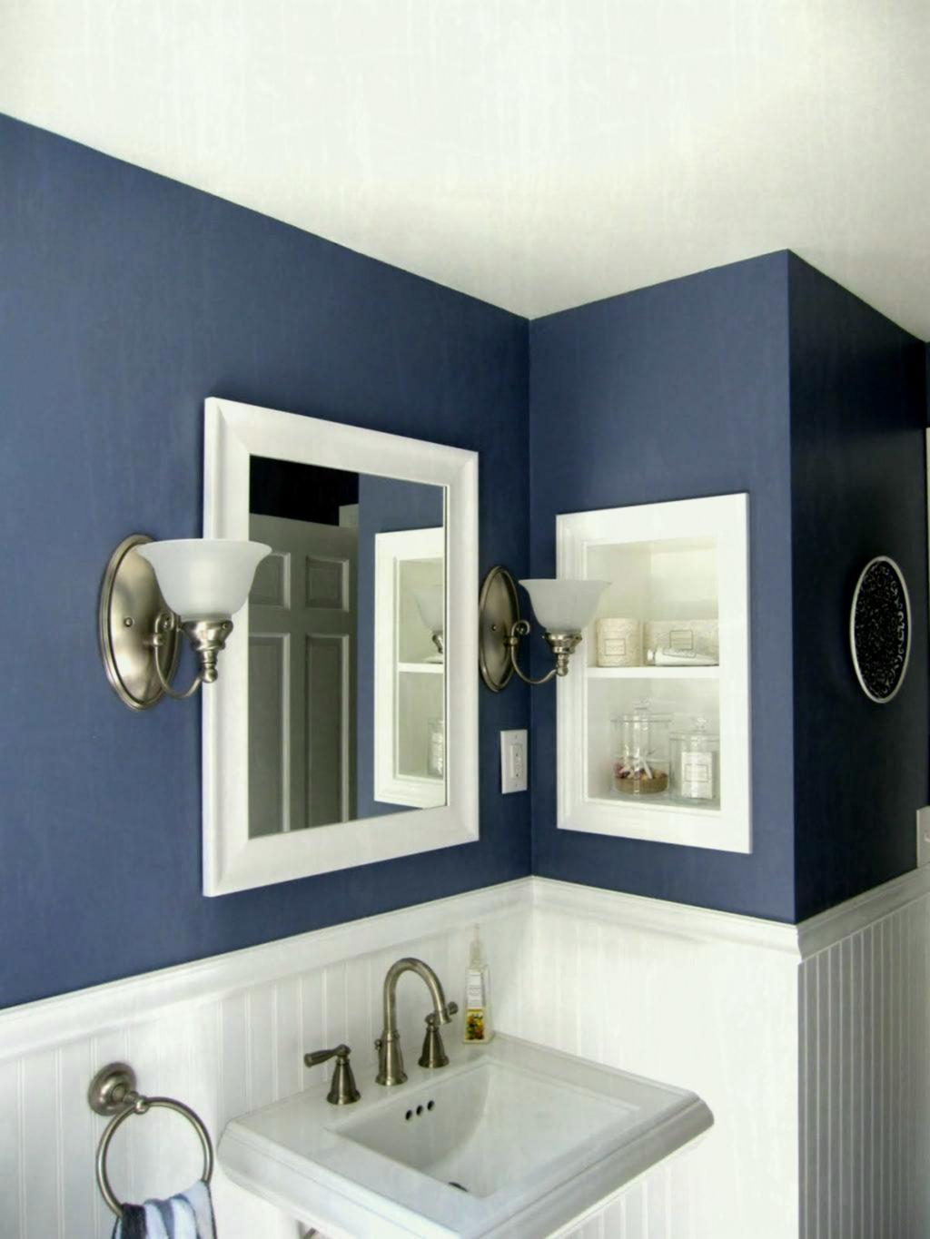 Lovely Perfect Navy Blue Accents Wall Paint For Minimalist Bathroom Design inside Fresh Navy Blue Bathroom Paint