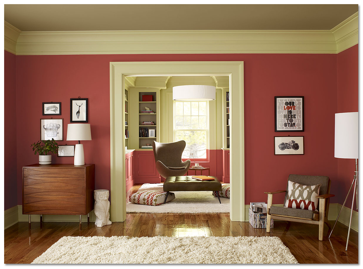 Lovely Red Paint Interior Colors | House Painting Tips, Exterior Paint for Interior House Painting Tips