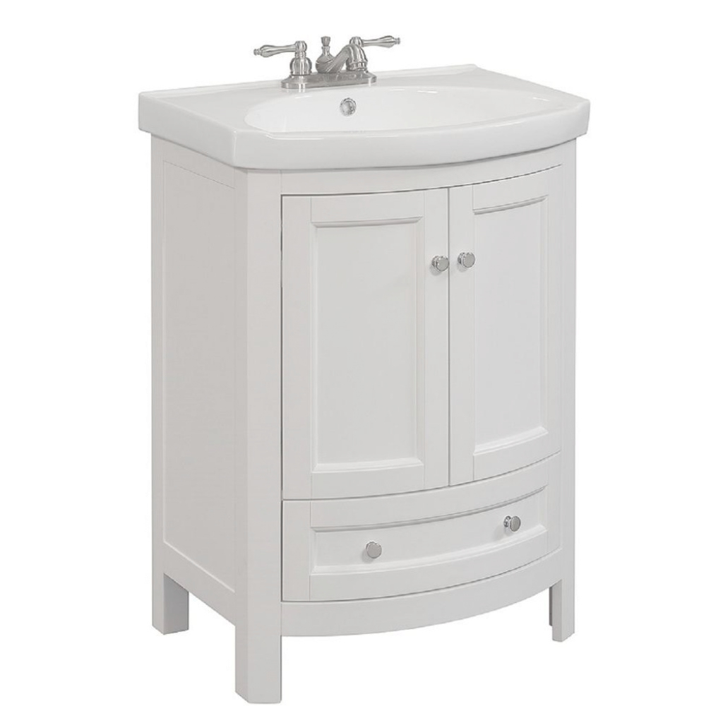 Lovely Runfine 24 In. W X 19 In. D X 34 In. H Vanity In White With Vitreous pertaining to Beautiful 24 Bathroom Vanity And Sink
