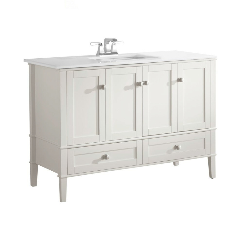 Lovely Simpli Home Chelsea 48 In. Vanity In Soft White With Quartz Marble intended for 48 Inch Bathroom Vanity With Top