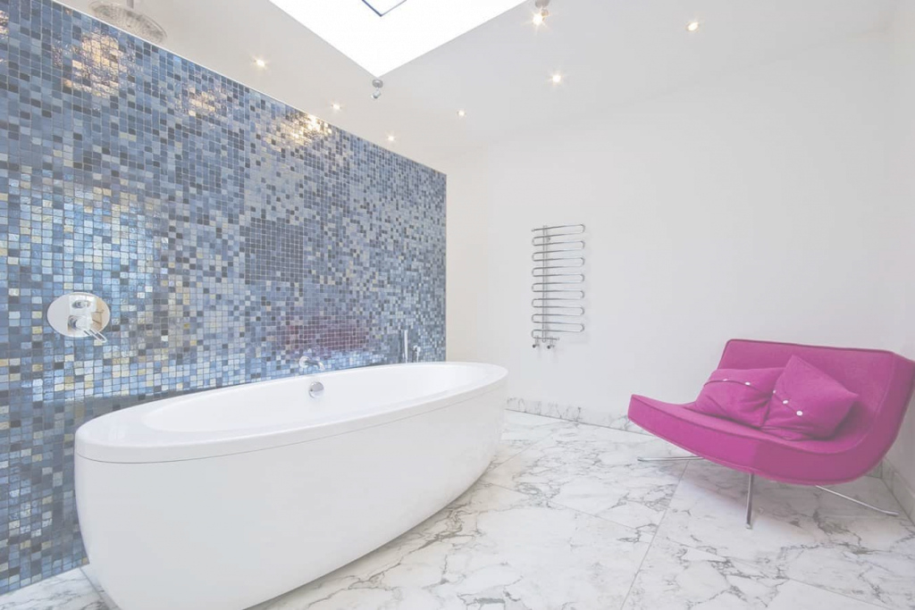 Lovely Stylish Bathroom With Armless Sofa And Freestanding Tub Also Blue intended for Best of Blue Mosaic Bathroom
