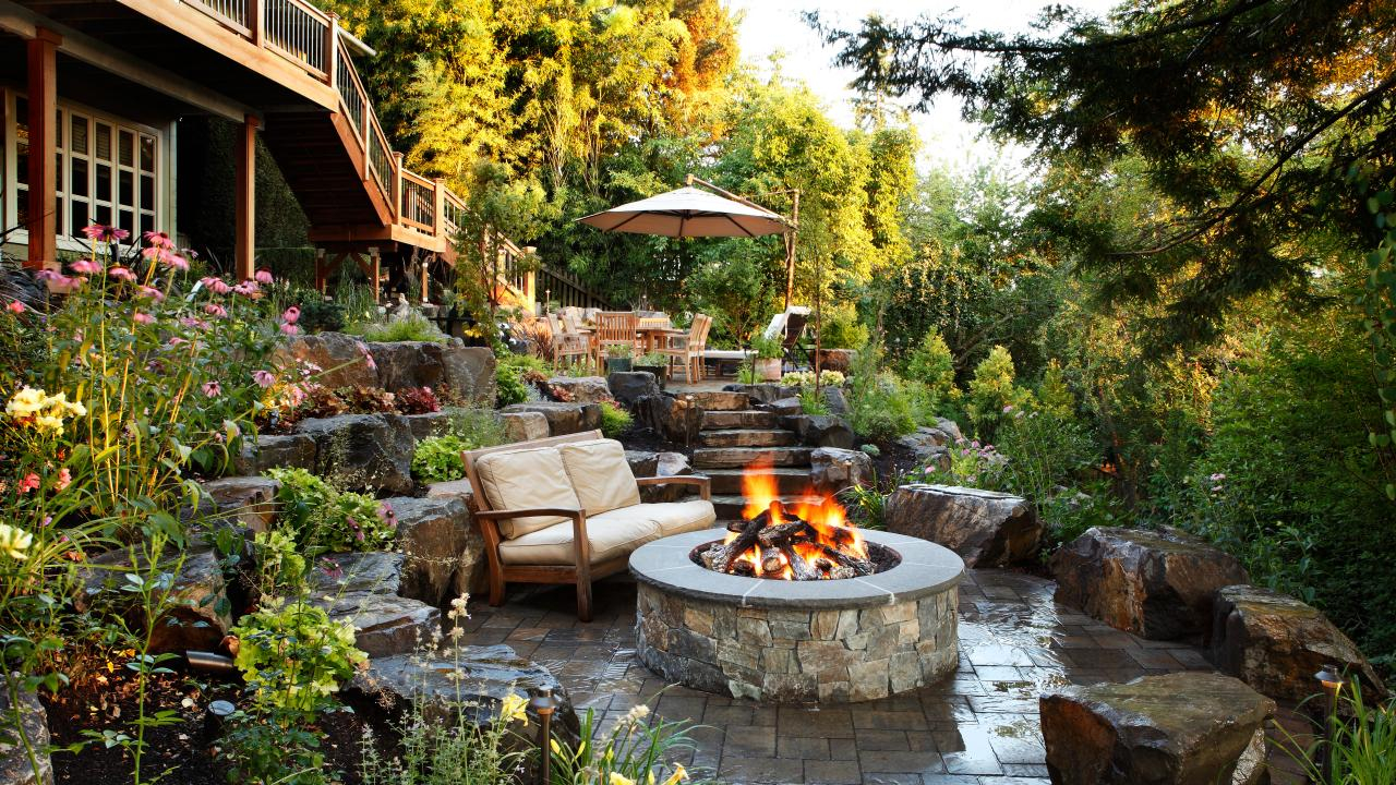 Lovely The Backyard Landscaping Ideas With Fire Pit : Manitoba Design inside Review Backyard Landscaping Ideas With Fire Pit