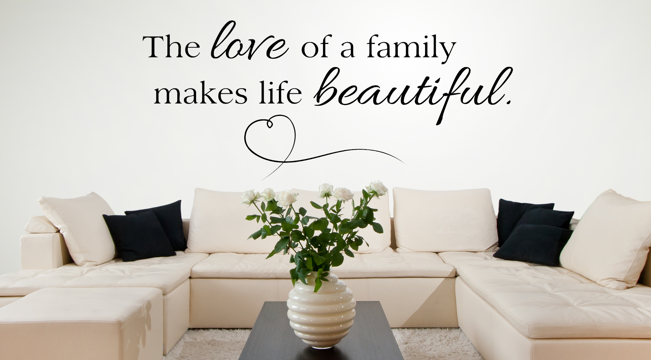 Lovely The Love Of A Family - Family Vinyl Wall Decals - Amandas Designer throughout Inspirational Living Room Decals