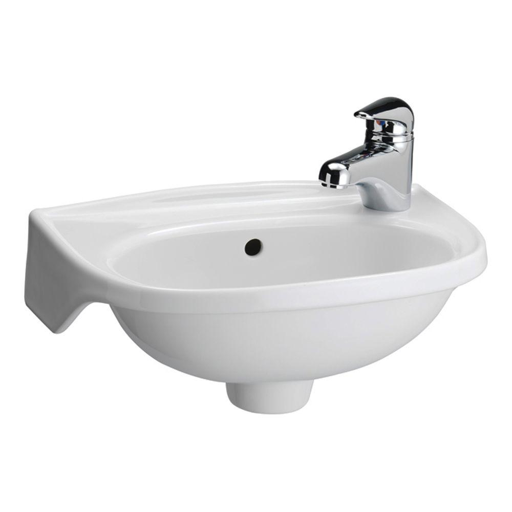 Lovely Tina Wall-Mounted Bathroom Sink In White-4-551Wh - The Home Depot in Small Bathroom Sinks Wall Mount