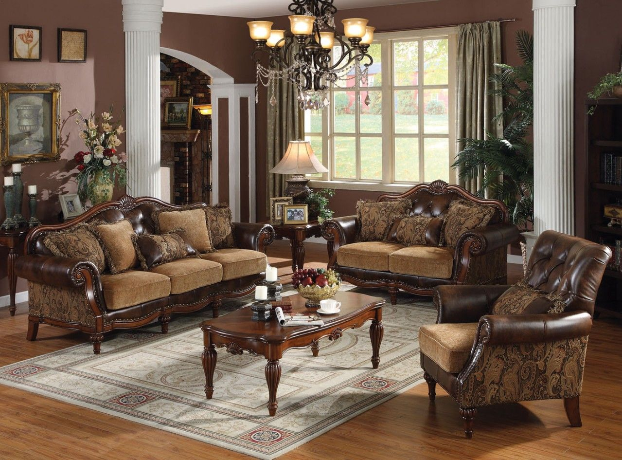 Lovely Traditional Living Room Sets | Acme Dreena Traditional Bonded for Fresh Traditional Living Room Ideas