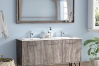 "Lovely Union Rustic Ellison Nature Wood 59"" Double Bathroom Vanity Set With pertaining to Bathroom Vanity Table"
