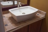Lovely Vanity Top Tiled & Top Mounted Sink – Youtube throughout Bathroom Vanity With Top