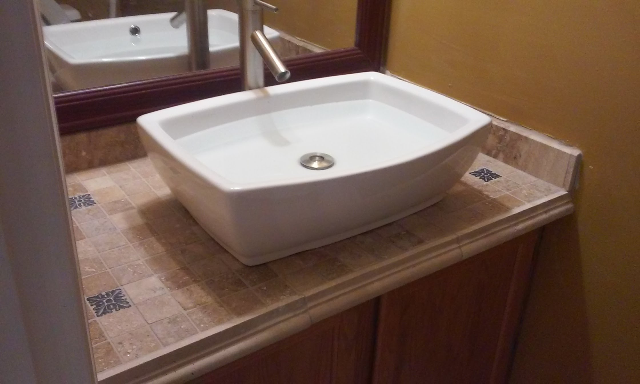 Lovely Vanity Top Tiled & Top Mounted Sink - Youtube throughout Bathroom Vanity With Top