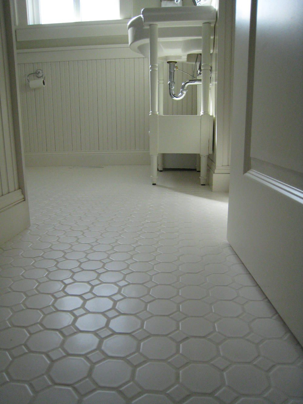 Lovely White Porcelian, Hexagon Floor Tile Shown Installed. The Type Of throughout Inspirational Easy To Install Bathroom Flooring