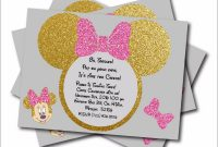 Modern 20 Pcs/lot Minnie Mouse Gold Glitter Custom Party Invites Minnie with regard to Review Minnie Mouse Baby Shower Invitations