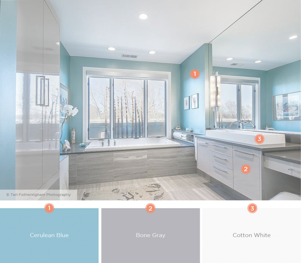 Modern 20 Relaxing Bathroom Color Schemes | Shutterfly inside Blue Bathroom Interior Design