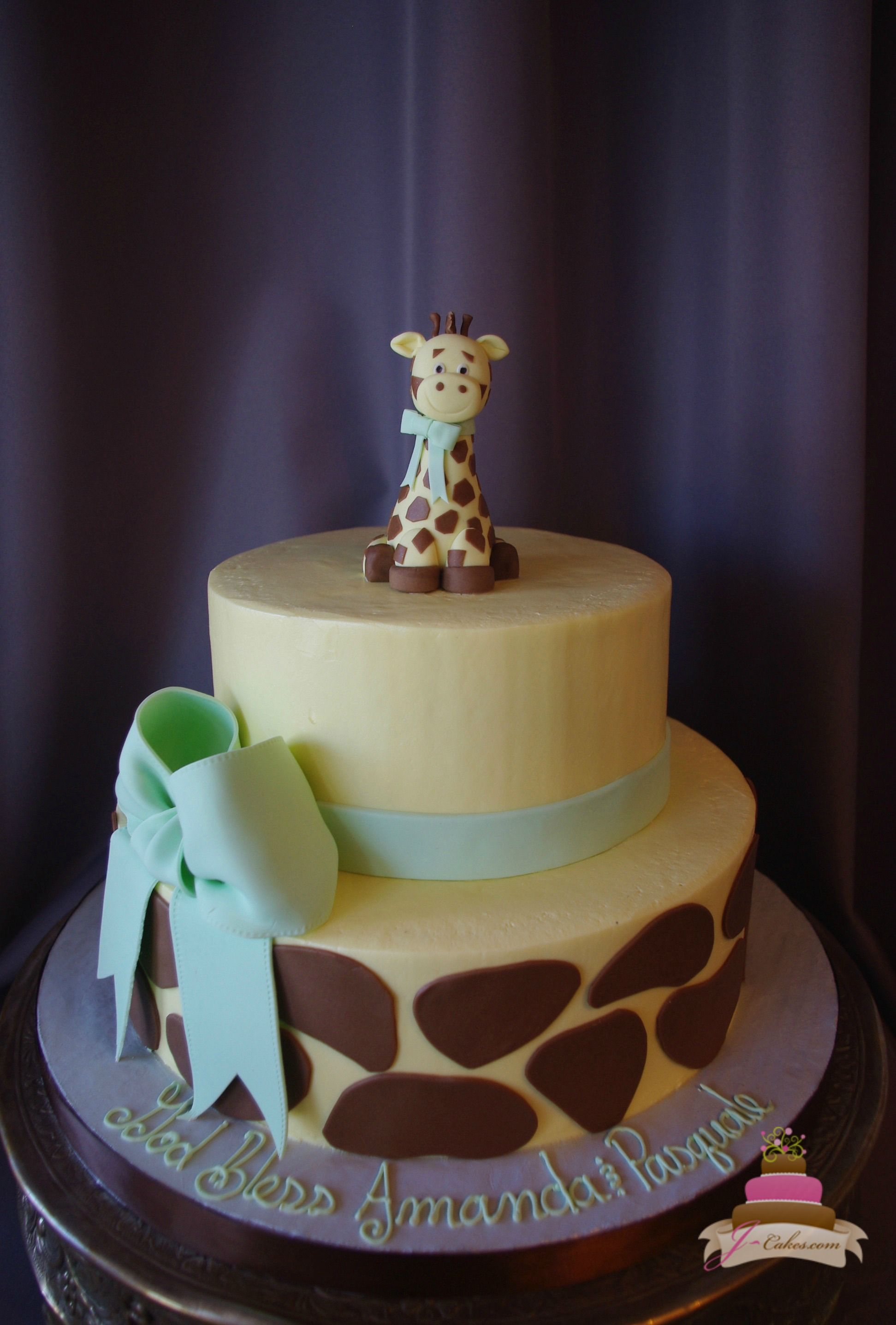 Modern 233) Giraffe Theme Baby Shower Cake | Baby Shower Cakes | Pinterest intended for Giraffe Themed Baby Shower