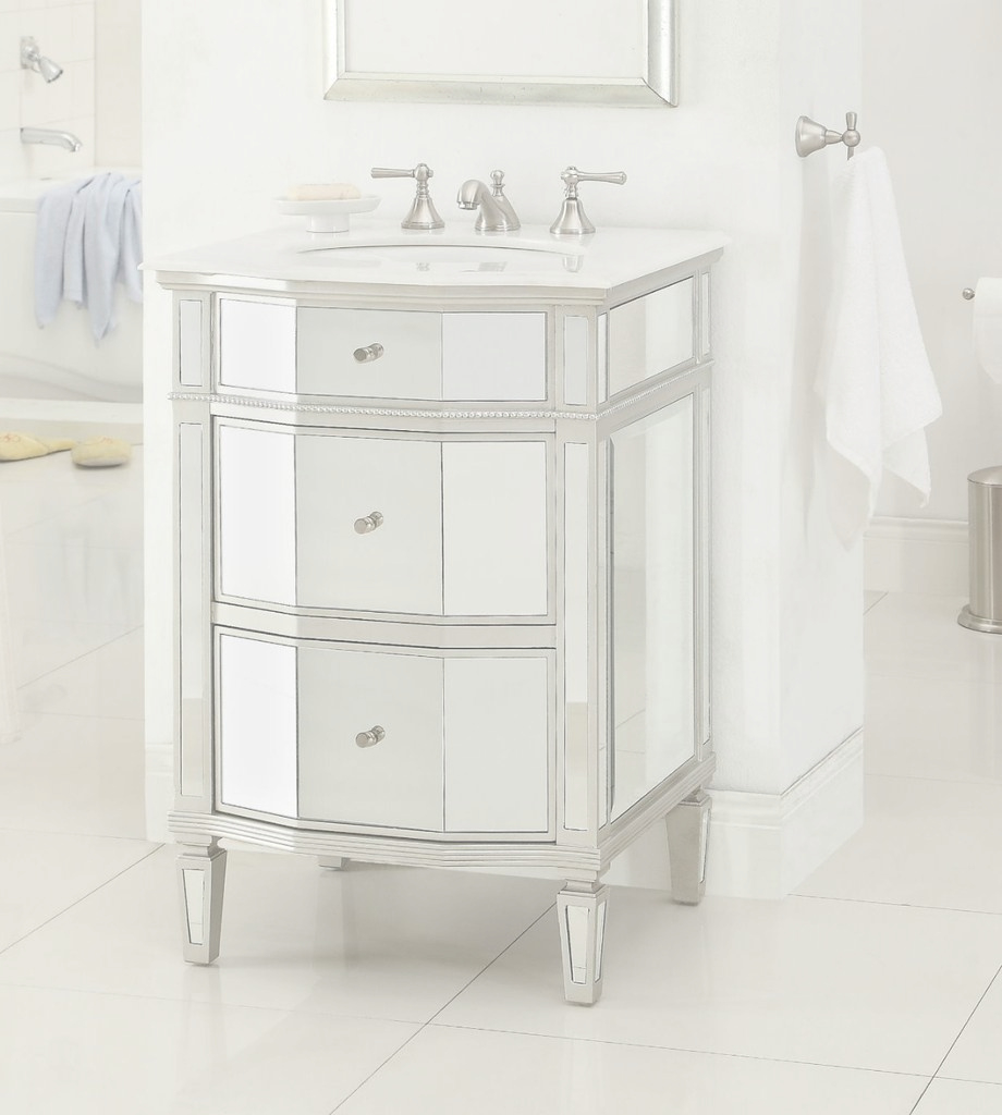 "Modern 24"" Petite Mirror Reflection Ashlie Bathroom Sink Vanity Hf006 intended for Petite Bathroom Vanity"