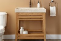"Modern 30"" Aurelia Teak Trough Sink Console Vanity – Natural Teak – Bathroom within Bathroom Sink And Vanity"