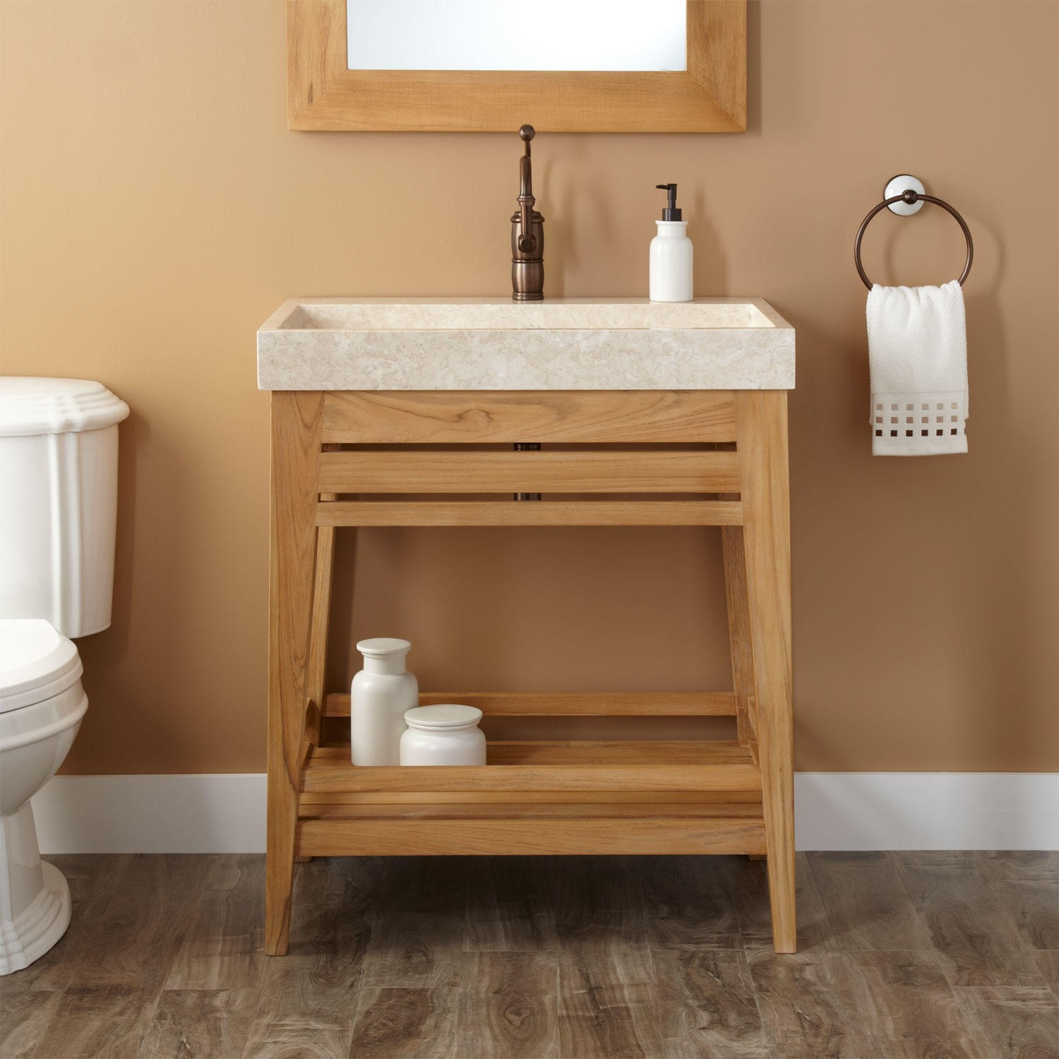 "Modern 30"" Aurelia Teak Trough Sink Console Vanity - Natural Teak - Bathroom within Bathroom Sink And Vanity"