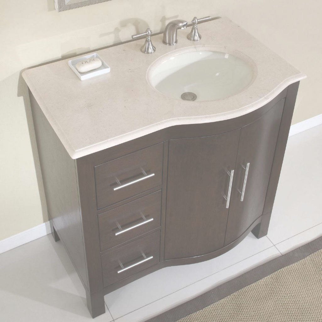 "Modern 36"" Silkroad Kimberly - Single Sink Cabinet Bathroom Vanity - Hyp pertaining to Unique Small Bathroom Vanity With Sink"