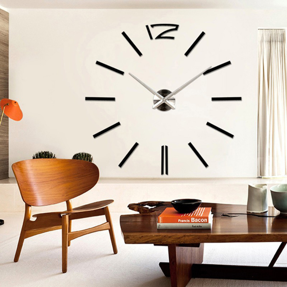 Modern 3D Real Big Wall Clock Rushed Mirror Sticker Diy Living Room Decor within Lovely Living Room Wall Clocks