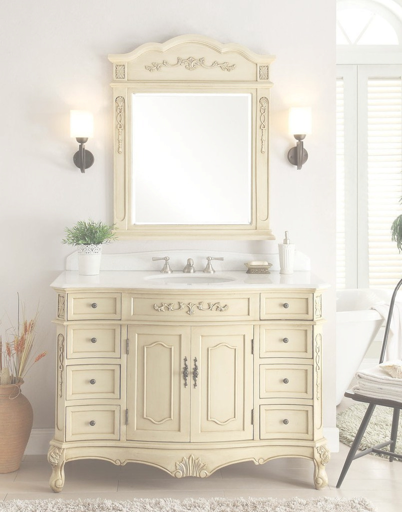 "Modern 42"" Classsic Style Pastel Beige Fairmont Bathroom Sink Vanity within Elegant Fairmont Bathroom Vanity"
