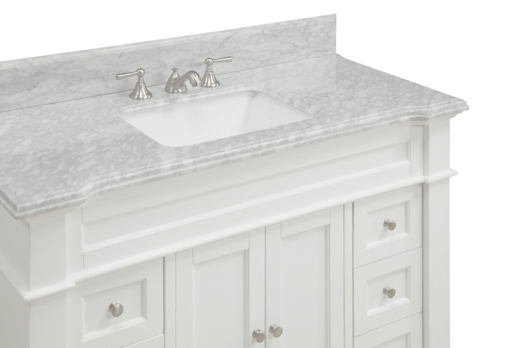 Modern 48 Inch White Shaker Bathroom Vanity Cottage Beach Style Carrara pertaining to 48 Inch Bathroom Vanity With Top