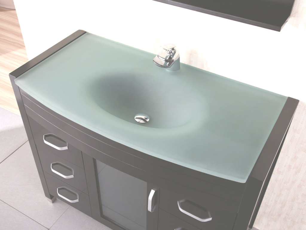 "Modern 48"" Waterfall Single Bath Vanity - Glass Top - Bathgems regarding Bathroom Vanity Tops With Sink"
