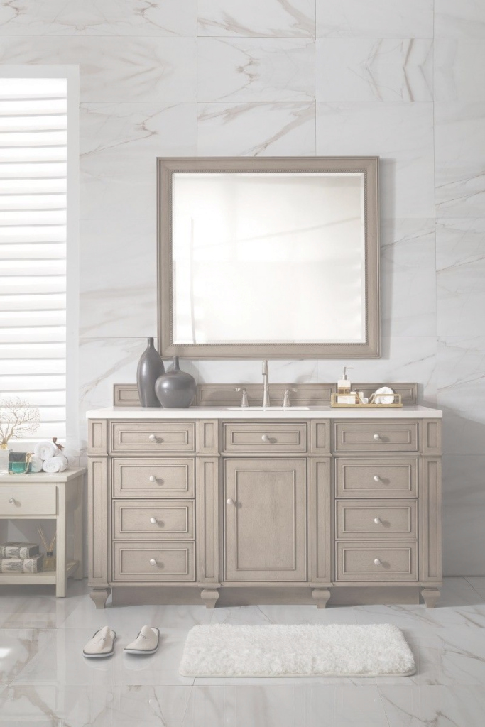 Modern 60 Inch Single Sink Bathroom Vanity Whitewashed Walnut Finish for Single Sink Bathroom Vanity