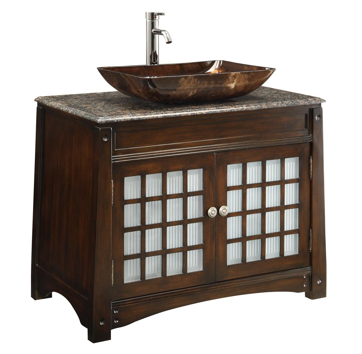 Modern Adelina 38 Inch Vessel Sink Bathroom Vanity, Dark Granite Counter intended for 36 In Bathroom Vanity With Top