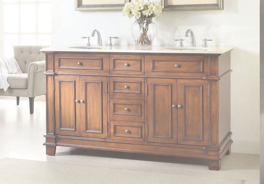 Modern Adelina 70 Inch Antique Double Bathroom Vanity, Cream Marble Counter Top inside New 70 Inch Bathroom Vanity