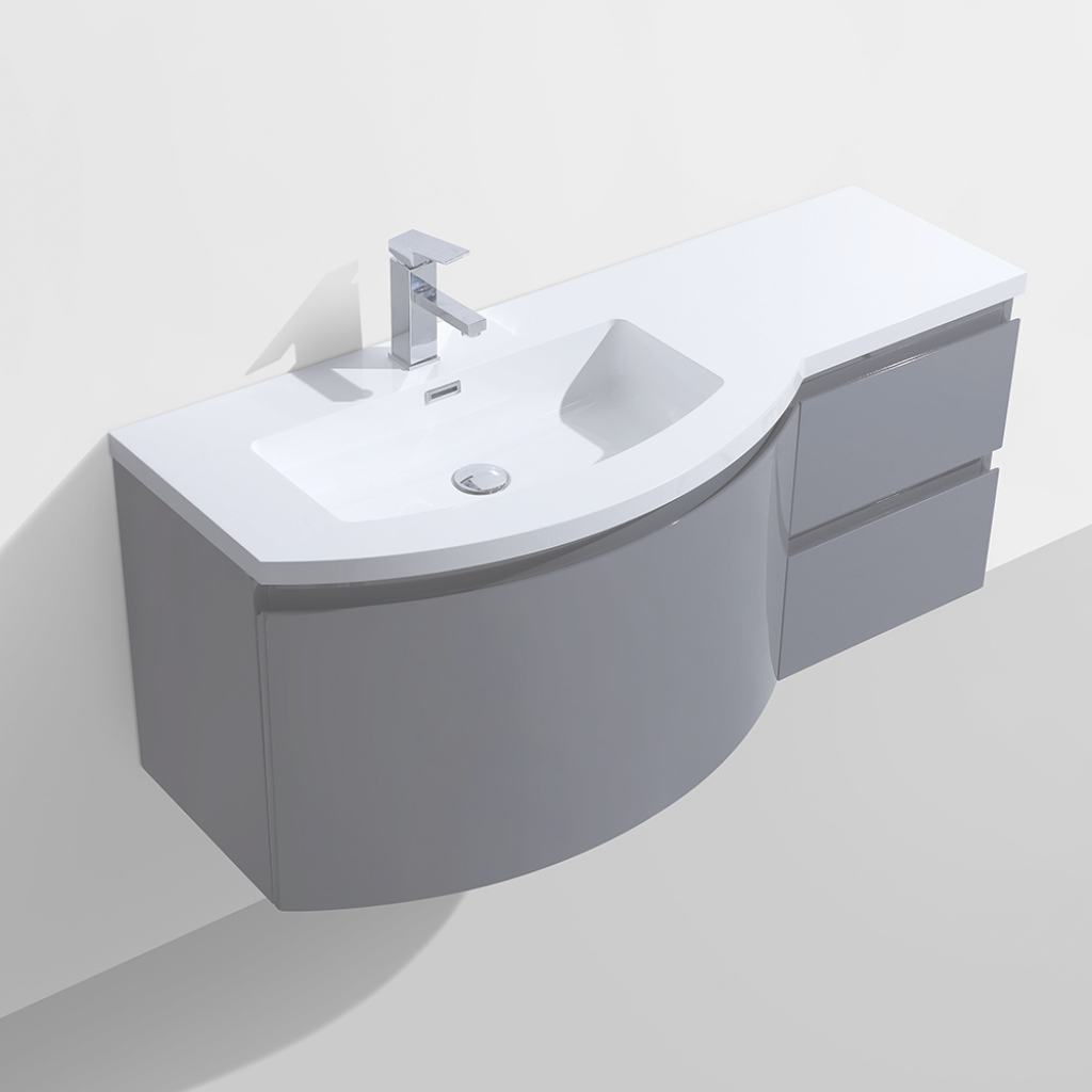 "Modern Alya Bath At-8110-Ls 48"" Single Modern Wall Mount Bathroom Vanity In pertaining to Wall Mount Bathroom Vanity"