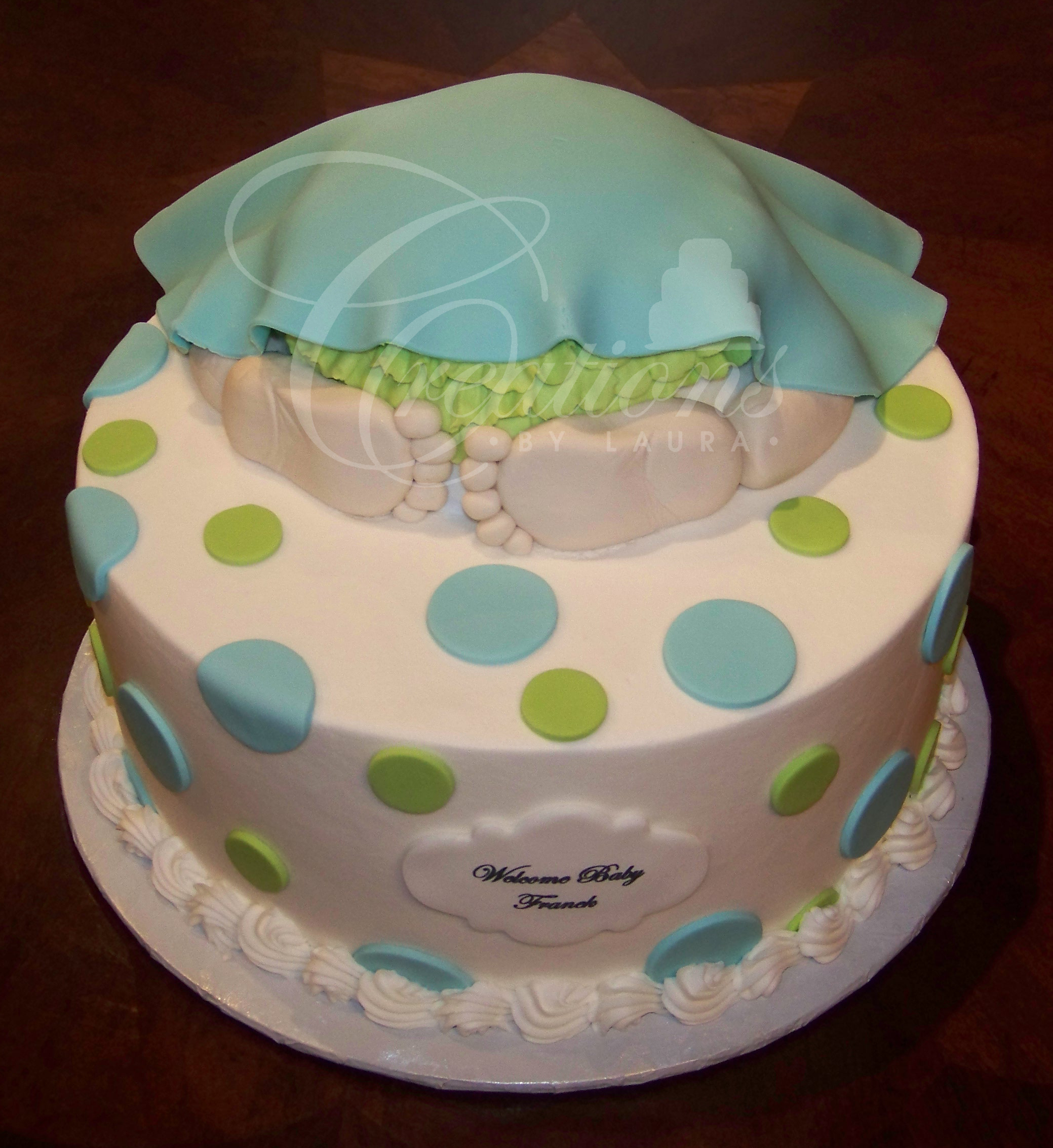 Modern Baby Shower Cakes | Creationslaura within Blue And Green Baby Shower