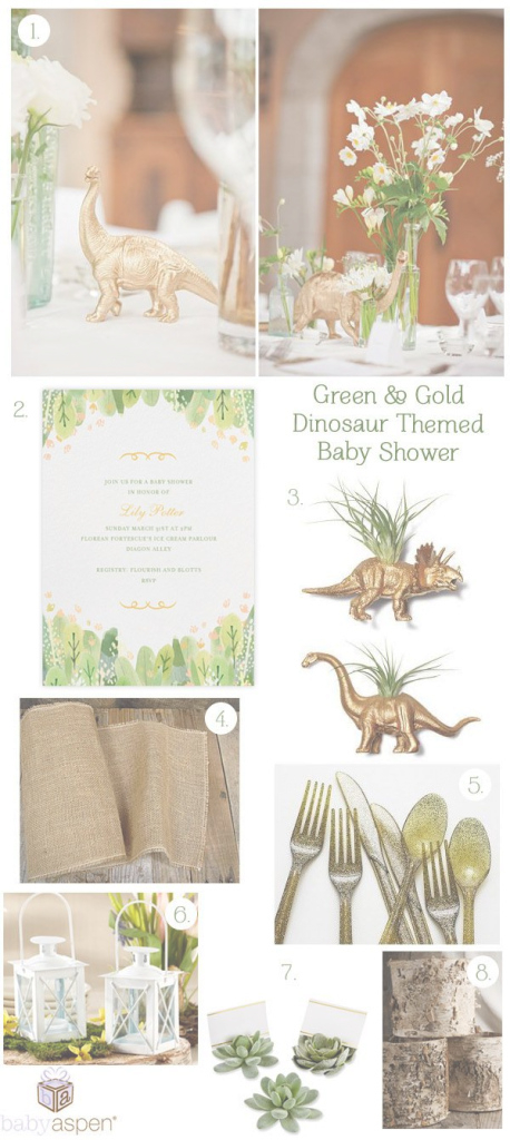 Modern Baby Shower Inspiration: Green & Gold Dinosaur Shower | Pinterest throughout Modern Baby Shower Themes