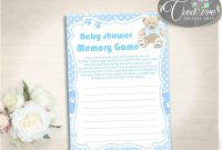 Modern Baby Shower Stuffed Baby Shower Pooh Remember Things To Do Memory inside Set Things To Do At A Baby Shower