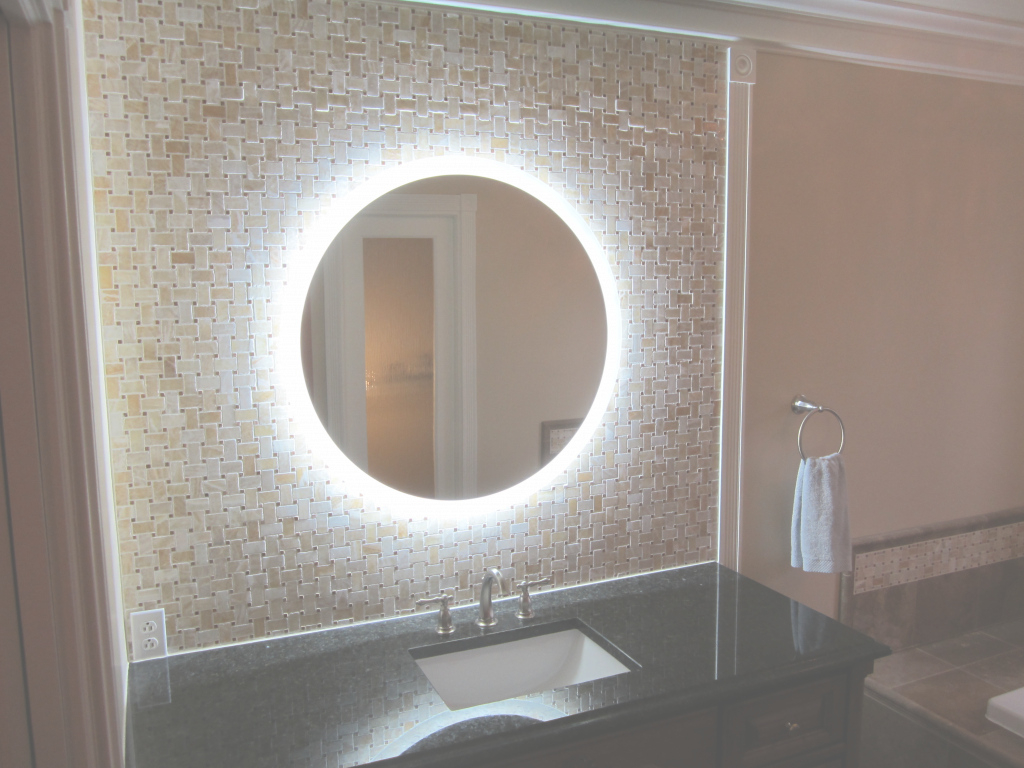 Modern Bathroom : Bathroom Round Light Up Mirror • Mirrors With Lights with Awesome Bathroom Mirror With Built In Light