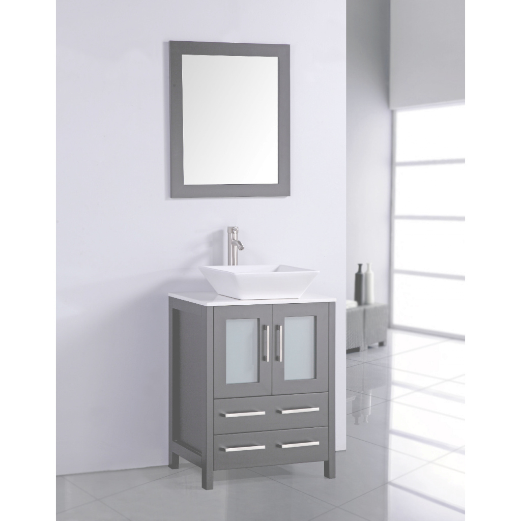 Modern Bathroom: Dark Gray Cabinet With Brown Marble Countertop And Sink pertaining to 24 Bathroom Vanity And Sink