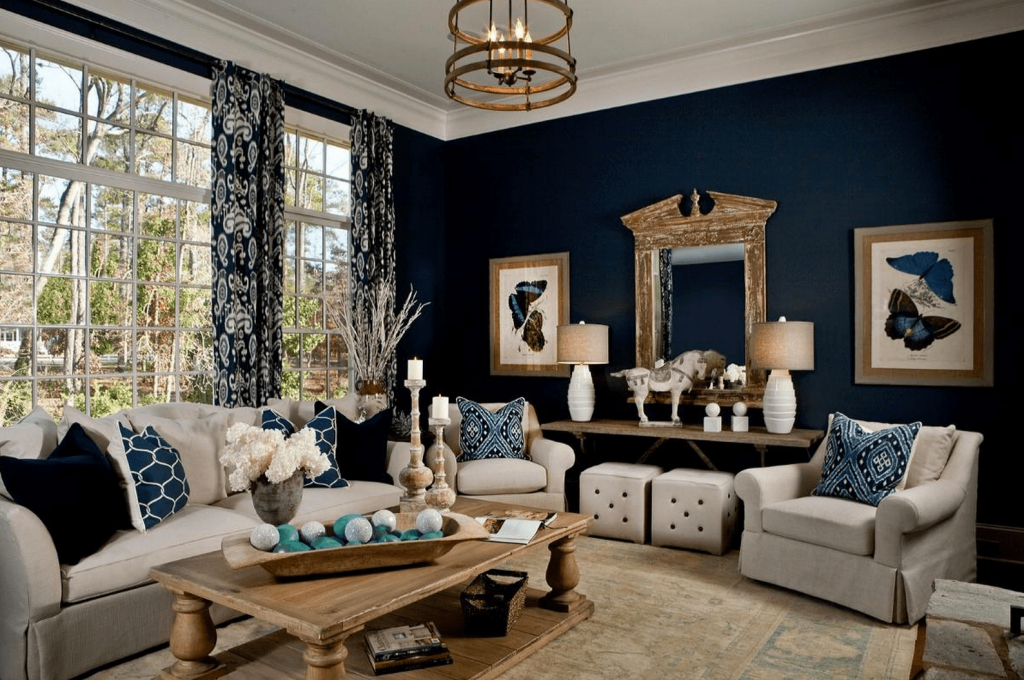 Modern Blue Living Room Ideas inside Awesome Dark Living Room Ideas