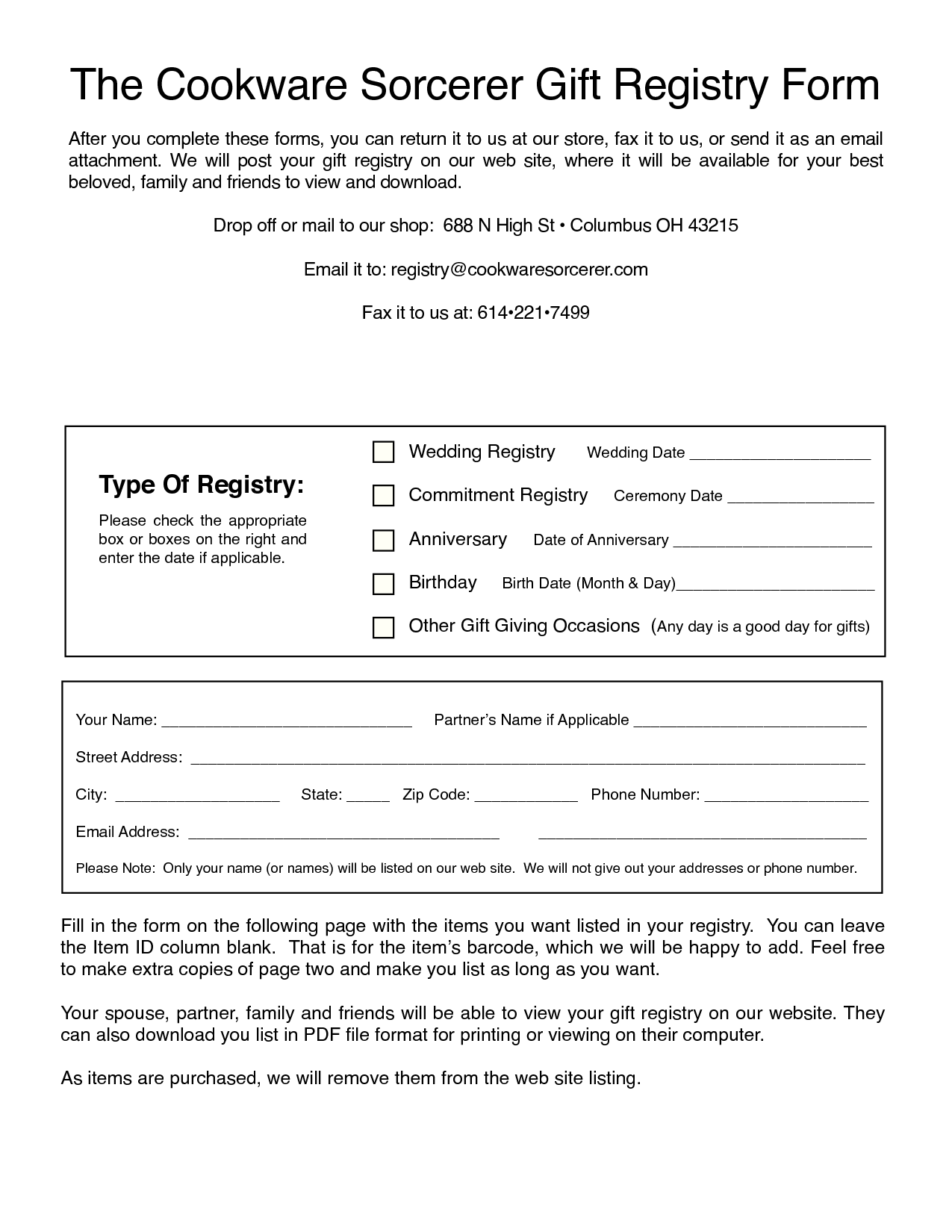 Modern Bridal Registry Form Template - Acur.lunamedia.co for High Quality Walmart Gift Registry Baby Shower