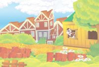 Modern Cartoon Background Of Farm Backyard With Some Wooden Building Stock pertaining to Fresh Backyard Cartoon