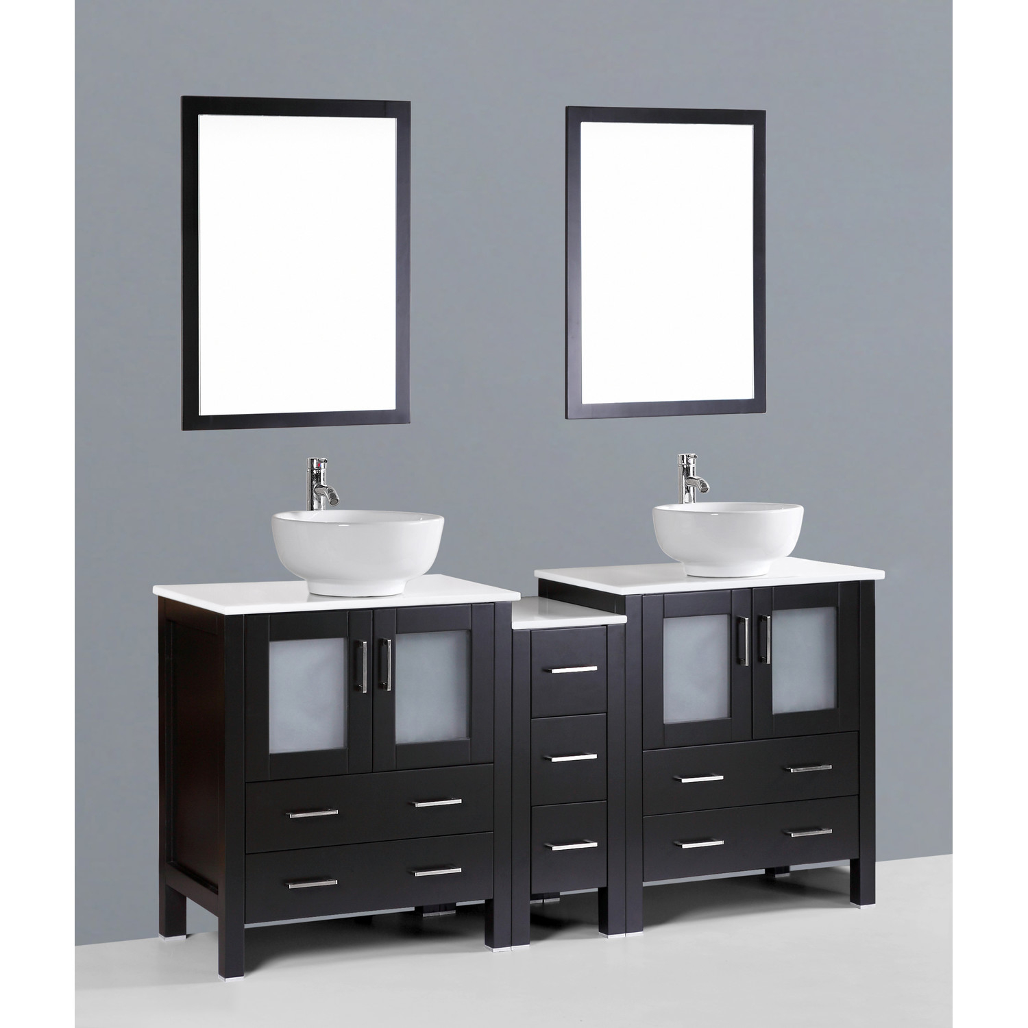Modern Contemporary 72 Inch Dark Espresso Double Vessel Sink Bathroom pertaining to Beautiful Dark Bathroom Vanity
