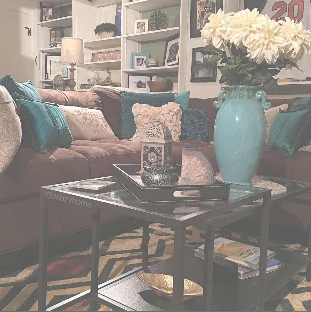 Modern Cozy Brown Couch With Teal Accents, Turquoise And Brown, Built-In in Brown And Turquoise Living Room