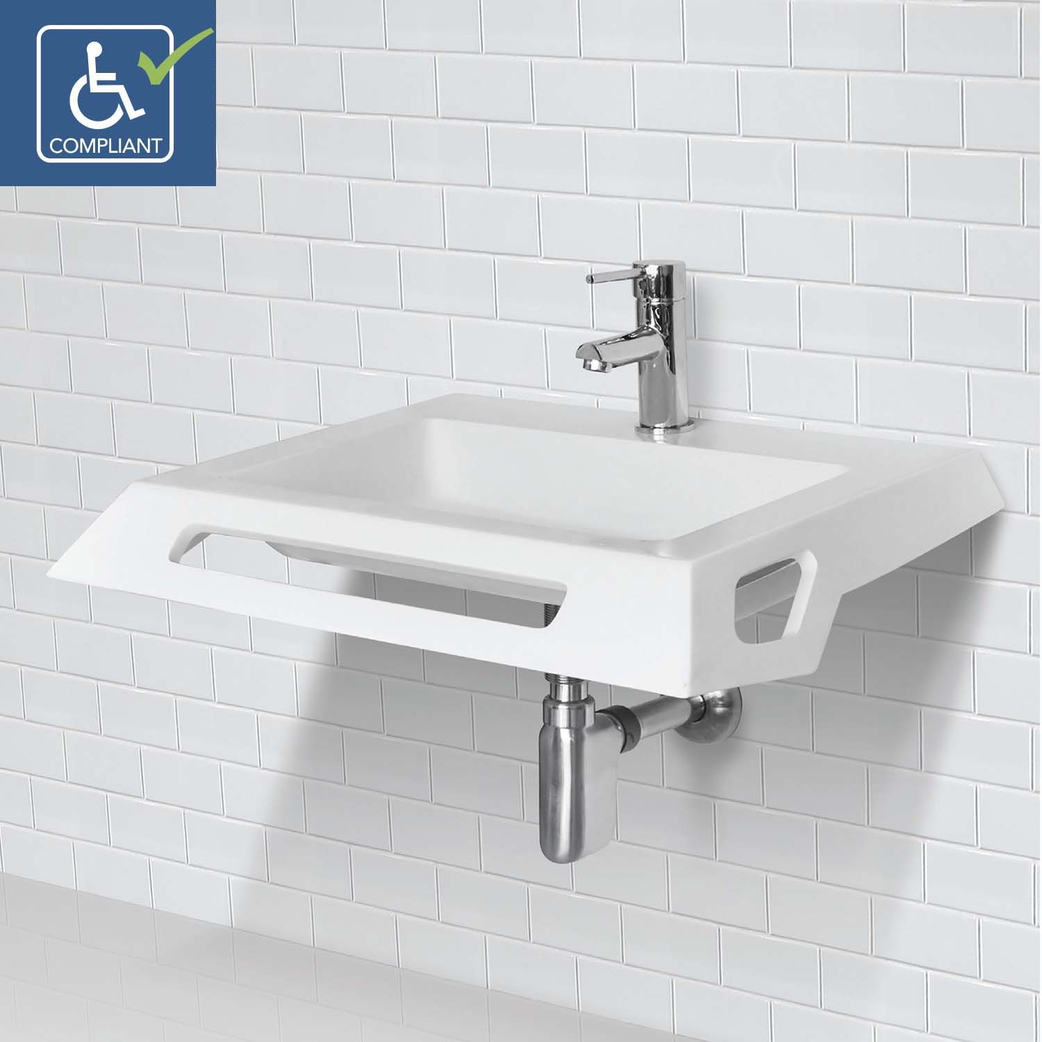 Modern Decolav Lexine 1833-Ssa - Solid Surface Ada Compliant Wall-Mount with Ada Bathroom Sink