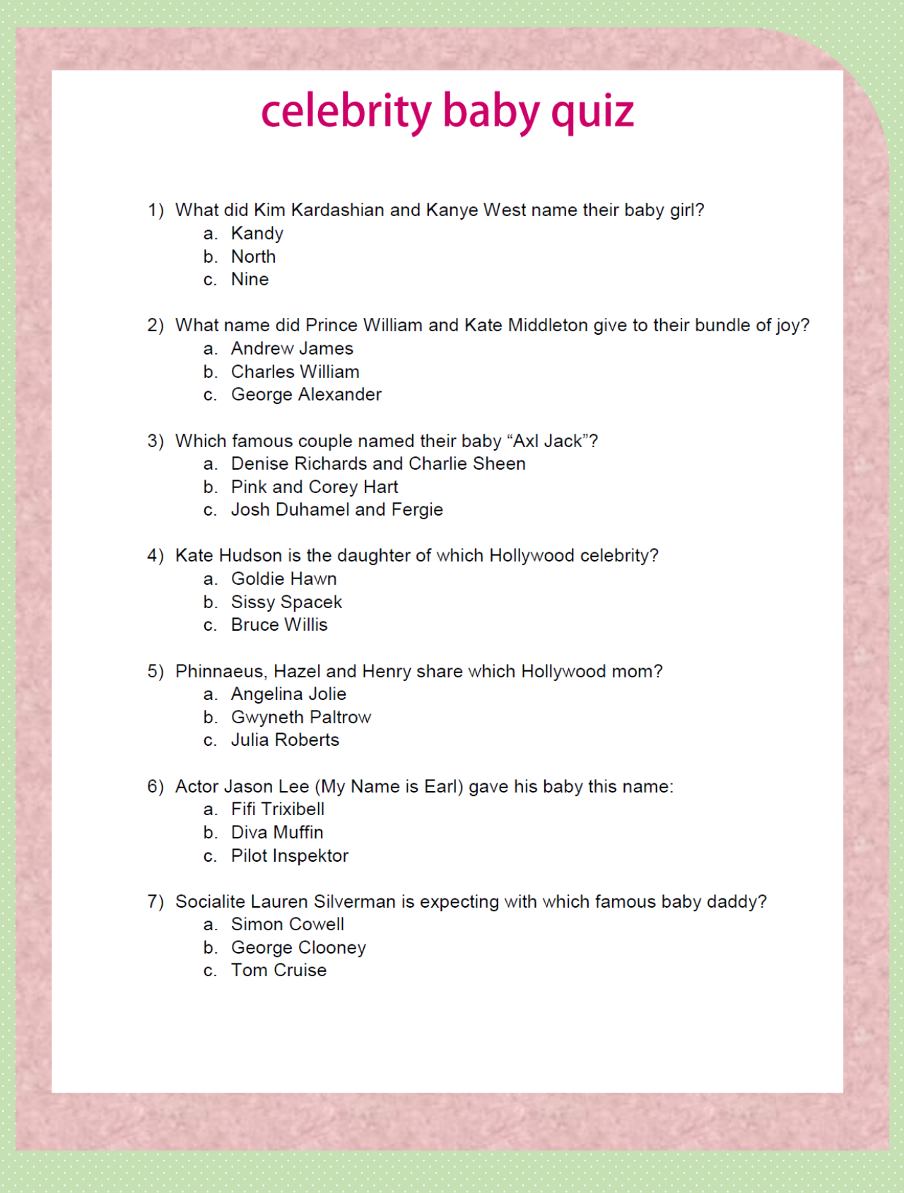 Modern Decoration Baby Shower Game Celebrity Quiz Questions About Famous inside Baby Shower Trivia