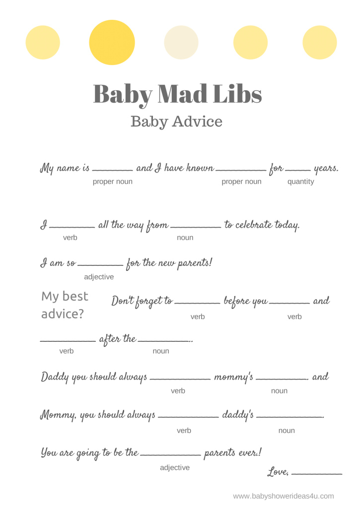 Modern Free Baby Mad Libs Game - Baby Advice - Baby Shower Ideas - Themes with regard to Inspirational Free Baby Shower Game Templates