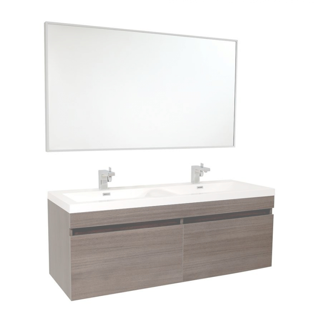 Modern Fresca Largo Gray Oak Modern Bathroom Vanity W/ Wavy Double Sinks intended for Awesome Fresca Bathroom Vanity