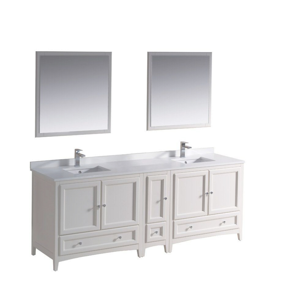 Modern Fresca Oxford 84 In. Double Vanity In Antique White With Ceramic pertaining to Awesome Fresca Bathroom Vanity
