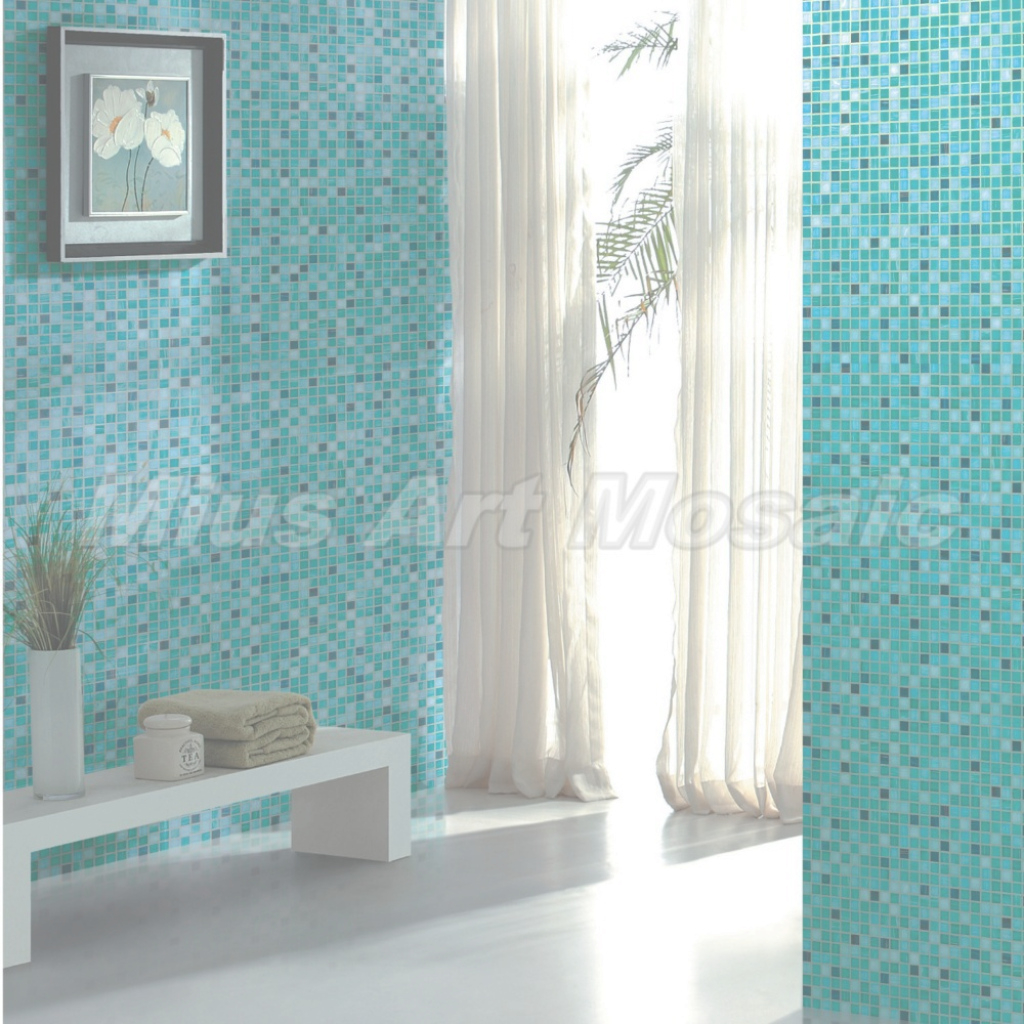 Modern High Quality Aqua Recycled Glass Tiles Bathroom Mosaic Glass Mosaic with regard to Blue Bathroom Mosaic Tiles