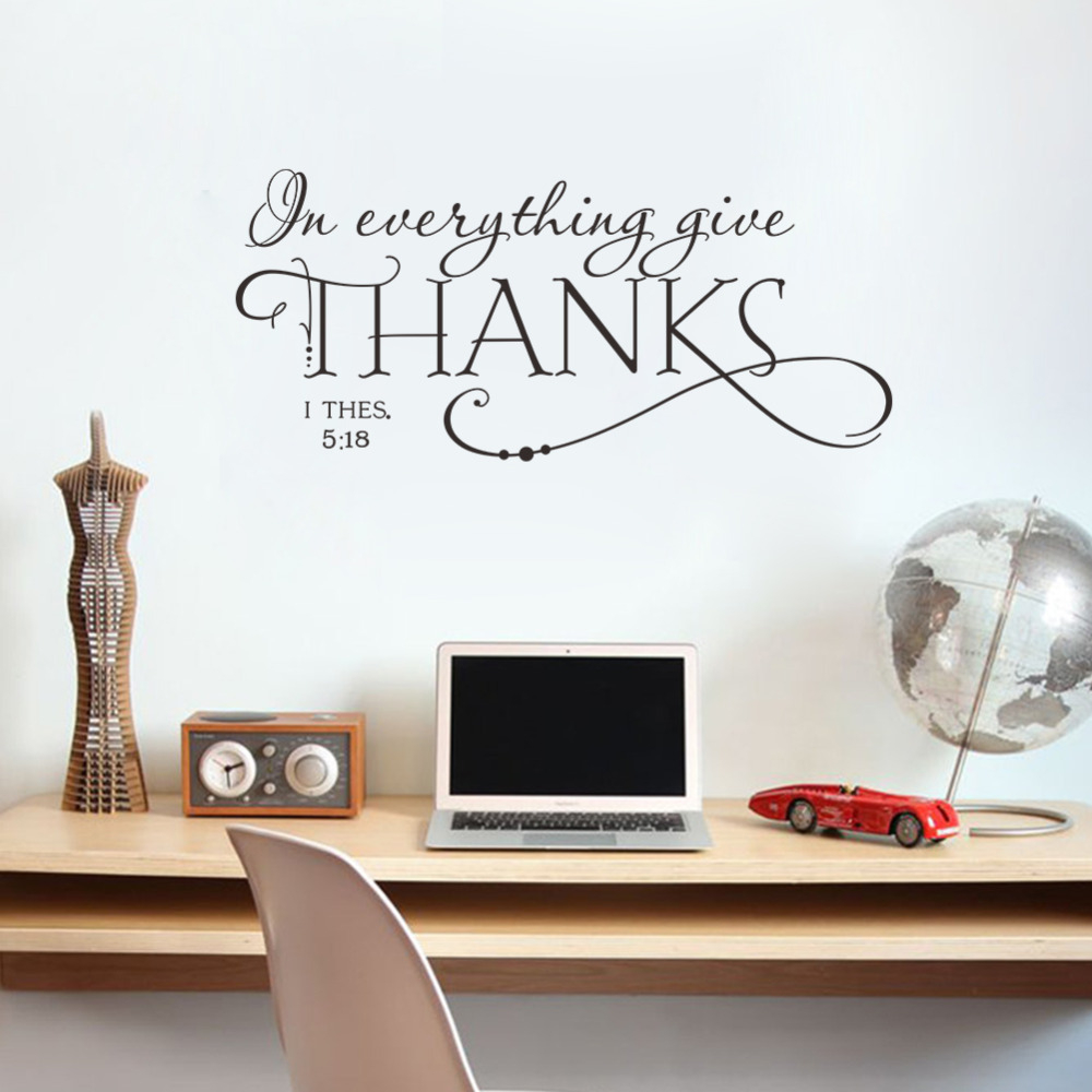 Modern In Everything Give Thanks Christian Jesus Vinyl Quotes Wall Sticker within Inspirational Living Room Decals