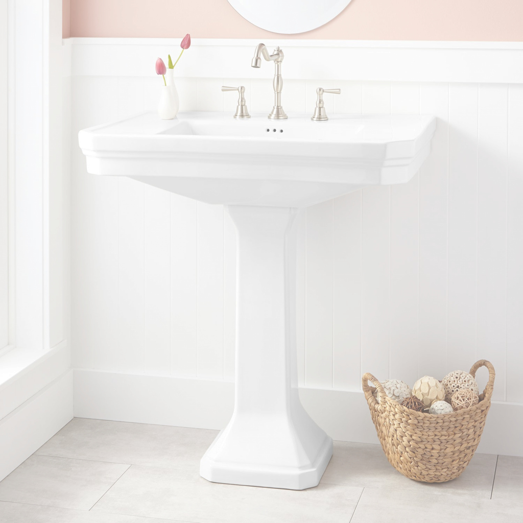 Modern Kacy Porcelain Pedestal Sink - Bathroom throughout Large Bathroom Sinks